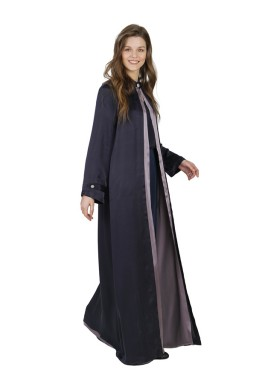 Atlas Black & Purple Silk Abaya