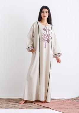 Beige Embroidered Maxi Kaftan