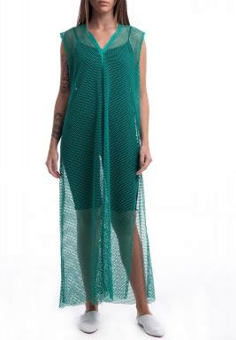 Green Sleeveless Mesh Dress