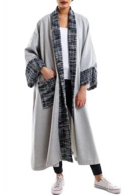 Knitwear collar grey bisht