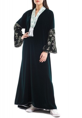 Green Velvet Embroidered Kaftan
