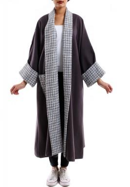 Knitwear collar brown bisht