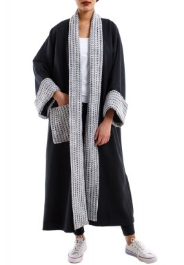 Knitwear collar black bisht