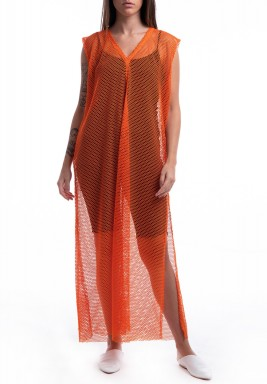 Orange Sleeveless Mesh Dress