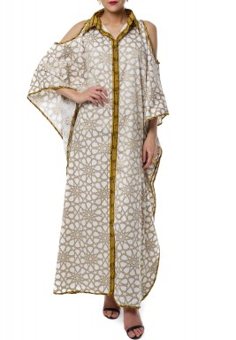 Yellow Line Arabic kaftan