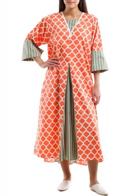 Orange Arabesque pattern kaftan with olive striped pleats