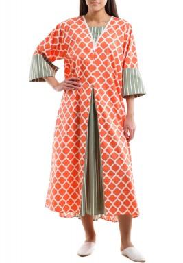 Orange Arabesque pattern kaftan with olive striped pleats