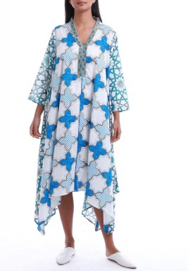 White & Blue Printed High-Low Dress