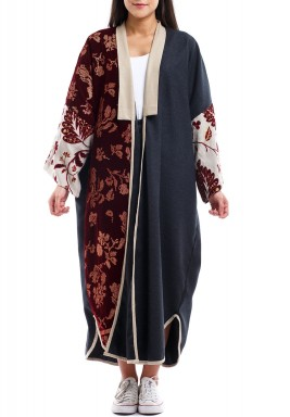 Grey & Maroon Embroidered Wool Bisht