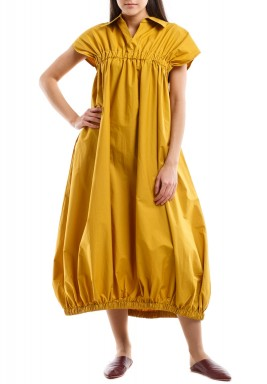 Mustard Sleeveless Gathered Kaftan