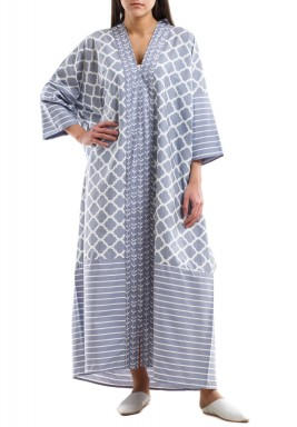 Grey floral & Arabesque kaftan