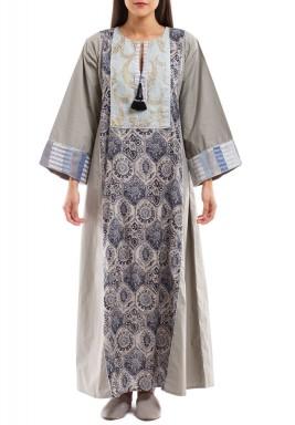 Ghabka kaftan - gray neckline