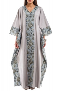Blue floral on grey kaftan