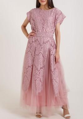 Pink Floral Laser Cut Dress
