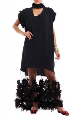 Black Lulea Feather & Floral Dress