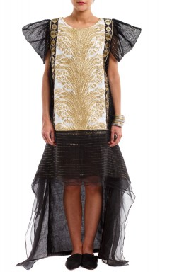 Tala Black Embroidered High-Low Kaftan