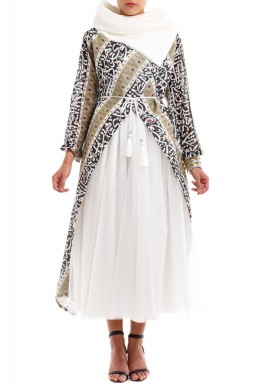 Taleen White & Brown Calligraphy Kaftan Set