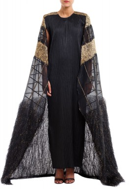 Lamar Black Embellished Cape Dress