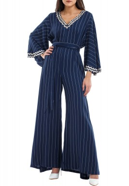 Karimana Navy Striped Jumpsuit