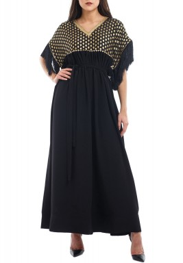 Aulora Black Embroidered Silky Kaftan