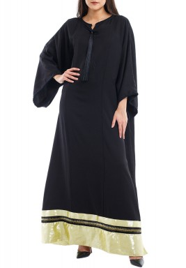 Sun Entailed Black & Gold Tasseled Kaftan