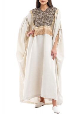 Beige Embellished Linen Short Sleeves Kaftan