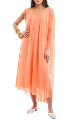 Peach one sleeves dress