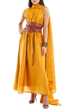 Mais Mustard High Neck Midi Kaftan