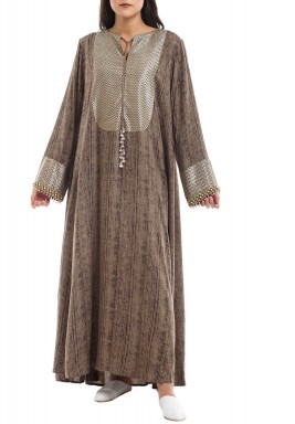 Brown Pearl-Like Embellished Kaftan