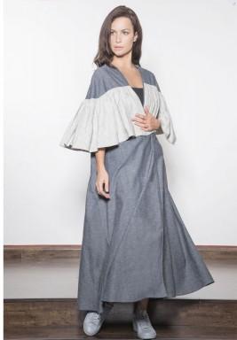 Oversized Frill Linen Abaya