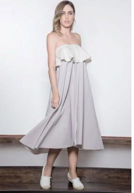 Beige & Grey Ruffled Midi Dress