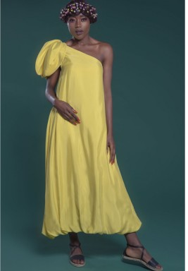 One Shoulder Dress Yellow