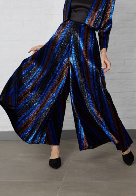 Blue Striped Metallic Jacquard Pants