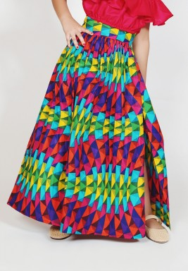 Colorful High Waist Kids Skirt