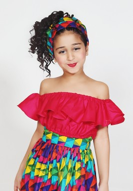Red Crop Ruffled Kids Top