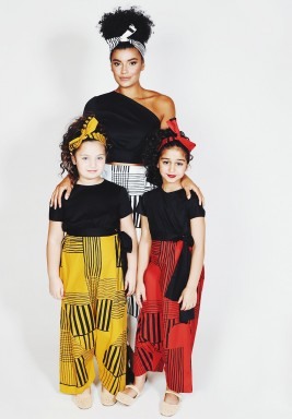 Black Short Sleeves Side Bow Kids Top