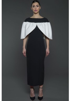 Cape Sleeves kaftan Black and White