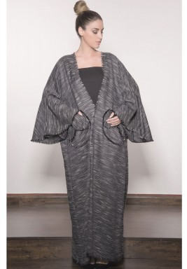 Black Bell Sleeves Tweed Abaya