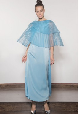 Blue Layered Pleated Dress