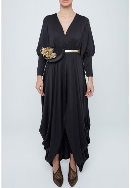 Black Pleated Silk Abaya With Embellished Bag Belt