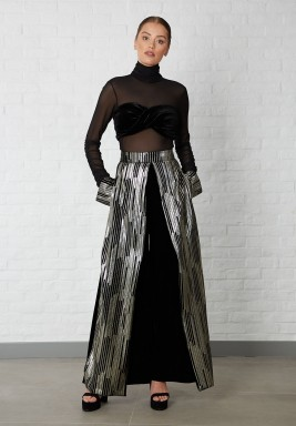 Black & Metallic Wide Legged Pants