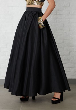 Black Rushed Maxi Silk Skirt