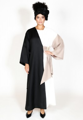 Trio Color Linen Belted Abaya