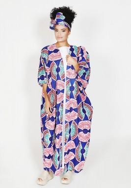 Blue Printed Puffed Sleeves Bisht