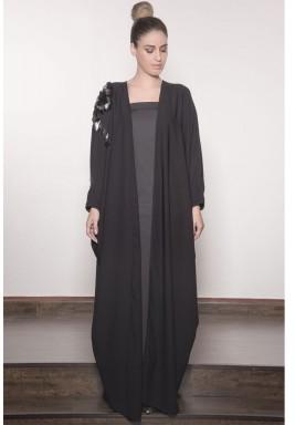 One Shoulder Twist Fan Sequin Abaya