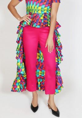 Pink Straight Cut Midi Pants