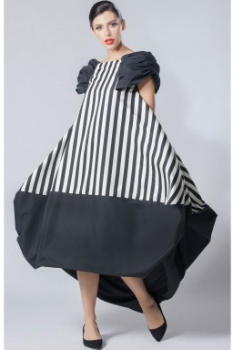 Black & White Striped Silk Dress