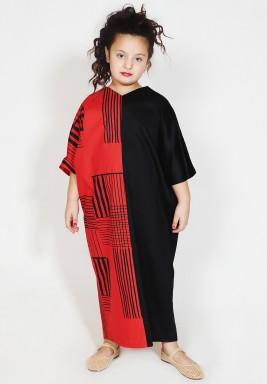 Black & Red Color Block Kids Dress