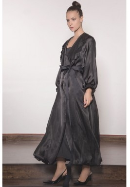 Bubble Cut Organza with Pleated Collar Abaya