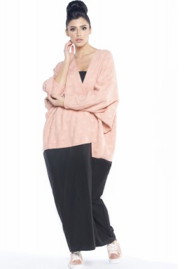 Mariposa Cut Abaya black and Pink